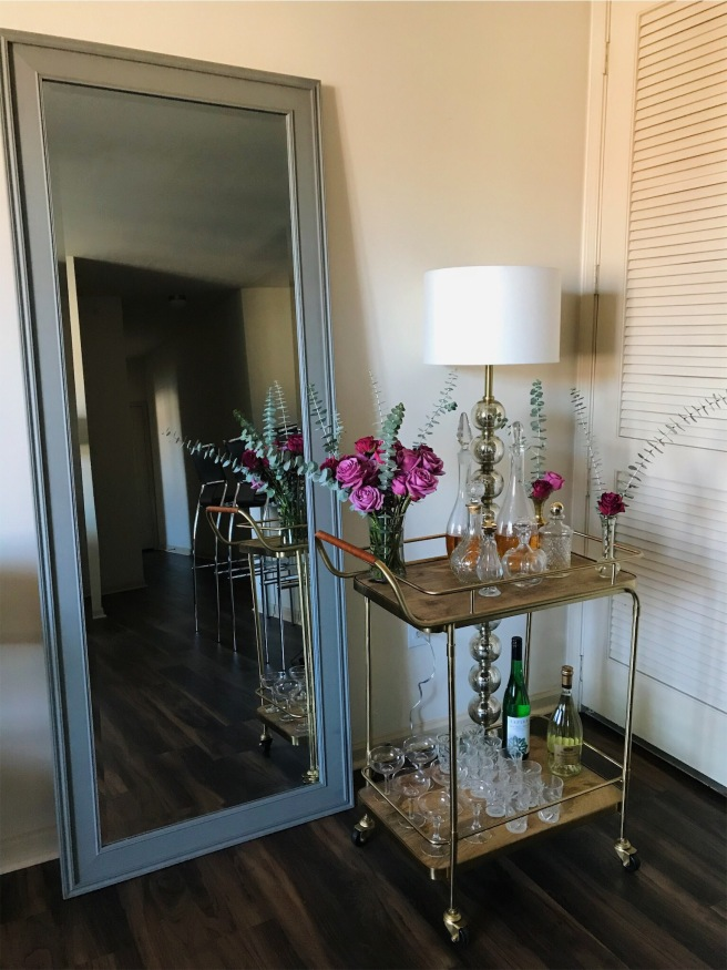 Mirror and Bar Cart